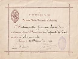 92 ANTONY  Document Paroisse SAINT-SATURNIN  1919 - Religione & Esoterismo