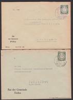 Plötz über Halle, Teicha  Je Rat Der Gemeinde Dienstpostbriefe, Behördenpost 1955 - Affrancature Meccaniche Rosse (EMA)