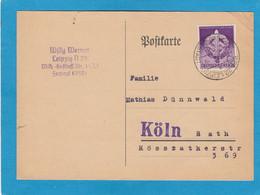 """POSTKARTE AUS LEIPZIG,MIT B.MARKE """"WEHRKAMPFTAGE DER SA 1942"""", AN FLIEGERBESCHÄDIGTE IN KÖLN. - Covers & Documents"""