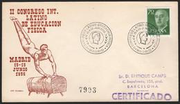 """España - Edi O 1151 - Mat Gomis 388 """"Madrid 15/6/56 - Congreso Educación Física"""" - 1951-60 Lettres"""