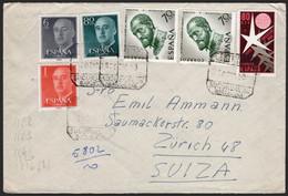 """España - Edi O 1152,1153,1161,1220,1226(2) - """"Certificado 20/12/58"""" A Ginebra - 1951-60 Lettres"""