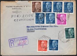 """España - Edi O 1152 ,1153,1157,1159(6),1160 - """"Correo Aéreo - Certificado 2/7/57 - Barcelona"""" A Bruselas - 1951-60 Lettres"""