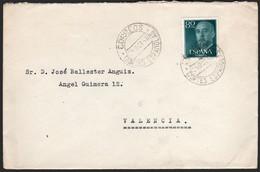 """España - Edi O 1152 - Fecha """"Correos - 25/10/56 - Cortes Españolas"""" A Valencia - 1951-60 Lettres"""