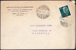 """España - Edi O 1152 - Fecha """"Correos - 28/11/57 - FET De Las JONS - Sindicatos - Delegación Nacional"""" - 1951-60 Lettres"""