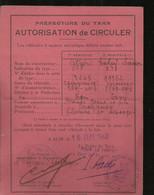 AUTORISATION DE CIRCULER          PREFECTURE DE TARN 1940 - Documenten