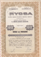 RYCSA METALURGICA INDUSTRIAL. 1 ACCION ORDINARIA. ARGENTINA, 1960. ACCION ACTION -LILHU - Mineral