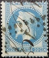 N°29A.Variété. Napoléon 20c Bleu. Oblitéré Losange G.C. N°104 Anglure - 1863-1870 Napoléon III Con Laureles