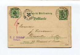 1894 5pf Kaart 10 10 93   Van G.J. SCHOBER Stuttgart Nr 8  Naar Bruxelles 1 - Zie Stempels - Wurtemberg