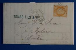 L14 FRANCE BELLE LETTRE 1873 ETOILE DE PARIS 1 POUR MORLAIX AFFRANCHISSEMENT PLAISANT - 1870 Besetzung Von Paris