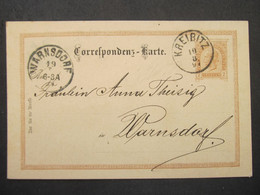 GANZSACHE Kreibitz Chribska - Warnsdorf 1897  ///// F3359 - Cartas