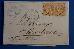 L14 FRANCE BELLE LETTRE 1871 LILLE POUR MORLAIX +SIEGE DE PARIS  CACHET AV D + .AFFRANCHISSEMENT INTERESSANT - 1870 Besetzung Von Paris