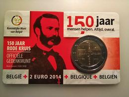 MONEDA DE 2 EUROS BELGICA 2014 COIN CARD 150 AÑOS DE LA CRUZ ROJA - Bélgica