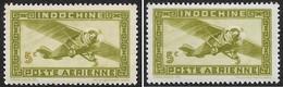 INDOCHINE    1942-44   -   PA  24 Et  24a (chiffre Olive )- NEUF S* - Poste Aérienne