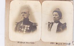 2 Photos Anciennes Militaire Le Lieutenant Colonel Stoumpff Et Son épouse Décorations Guerre 1870 1890 Réf 2876 - Oorlog, Militair