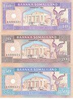 SOMALIA SOMALILAND 10 20 50 Shilling 1994 P-2 3 4 Set 1ST Series AA Same Serial - Somalia