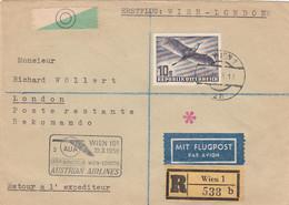 Österreich Luftpost Brief 1958 Vogel - Poste Aérienne