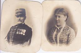2 Photos Anciennes Militaire Le Lieutenant Colonel Slopis Et Son épouse Décorations Guerre 1870 1890 Réf 2878 - Oorlog, Militair