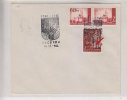 CROATIA WW II, ZAGREB 1942 Nice Cover POMOC Stamp With Engrrawer Mark - Croacia