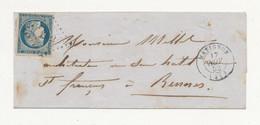 FRANCE -  1852 - 25 Centime Bleu Sur Lettre De Matignon Pour Rennes - Oblitération PC - 1849-1850 Ceres