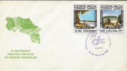 Costa Rica Natl Park Service,Poas Volcano,Cahuita Beach Sc C786-C787 FDC 1980 - Costa Rica