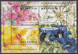 SCHWEIZ Block 31, Postfrisch **, Blumen 2001 - Blocks & Kleinbögen