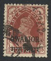 Gwalior, India, 1/2 A. 1938, Sc # 91, Used. - Gwalior