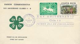 COSTA RICA 4-S CLUBS 25th ANNIV., EMBLEM, HARVESTERS, Sc C596-7 FDC 1974 - Costa Rica