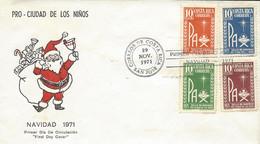 COSTA RICA CHRIST CHILD And PAX,PRO-CIUDAD De Los NIÑOS, Sc RA49-RA52 FDC 1971 - Costa Rica