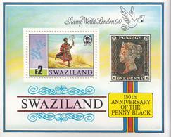 1990 Swaziland Penny Black Stamps On Stamps  Souvenir Sheet MNH - Swaziland (1968-...)
