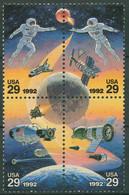 USA 1992 Weltraumfahrt Mit Russland Astronauten Raumschiff 2235/38 ZD Postfrisch - Nuevos