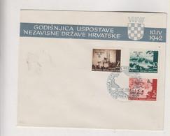 CROATIA WW II 1942 I Aniv FDC Cover - Croacia