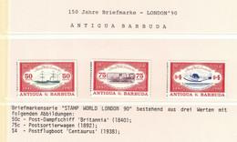 344Y * ANTIGUA UND BARBUDA * 3 FEINE WERTE * 150 JAHRE BRIEFMARKEN * POSTFRISCH **!! - Antigua Y Barbuda (1981-...)
