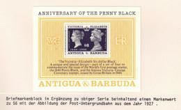 345Y * ANTIGUA UND BARBUDA BLOCK * 1 FEINE WERTE * 150 JAHRE BRIEFMARKEN * POSTFRISCH **!! - Antigua Y Barbuda (1981-...)