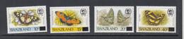 1990 Swaziland Butterflies Definitives OVERPRINTS Complete Set Of 4 MNH - Swaziland (1968-...)