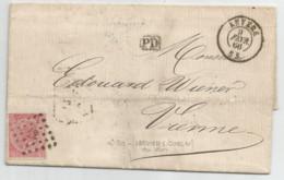N° 20 (40c Rose) Sur LAC Commercial D'Anvers à Destination De Vienne (belle  O  LP  +  Amb. Verviers-Cologne) - 1865-1866 Profil Gauche