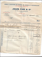 Armes Et Munitions Jules Pire Anvers 1922 Facture Détaillée Plombs Et Amorces - Other