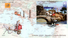 Albania Stamps 2020. Europa CEPT: Ancient Postal Routes. FDC Block MNH - Albania