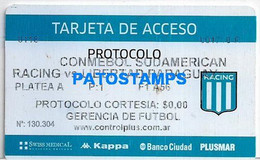 154490 ARGENTINA SPORTS SOCCER FUTBOL RACING CLUB VS LIBERTAD PARAGUAY TARJETA DE ACCESO NO POSTAL POSTCARD - Unclassified