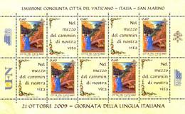 VATICANO - 2009 - Giornata Della Lingua Italiana - Dante Alighieri E Virgilio - Emissione Congiunta - BF58 Unificato - N - Blocs & Hojas