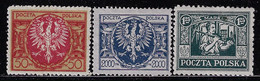 POLAND 1921 3 MINT STAMPS - Unused Stamps