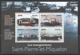 SPM 2004 Navires T Ransporteurs   Bloc Feuillet No. 4 - 4 Différents   ** - Neufs
