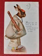 CPA  FANTAISIE - LAPIN - Malgré Ton Oeil Benin Et Ton Air.....j'ai Peur De Recevoir Ton Bâton Sur Le Râble - Andere