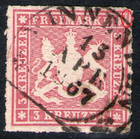 Steigbügelstempel WINNENDEN 13. APR. 1867 Auf 3 Kreuzer Lilarot - Württemberg Nr. 31 B Mit Abart - Pracht - Wurtemberg