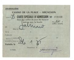 CARTE D ADMISSION DANS LES SALLES DE JEUX  CASINO ARCACHON  26/01/1975  TIMBRE FISCAL - Zonder Classificatie