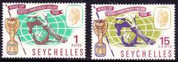 SEYCHELLES 1966 QEII 15c & 1R Multicoloured World Cup Football Championship SG226/227 MH - Seychellen (...-1976)
