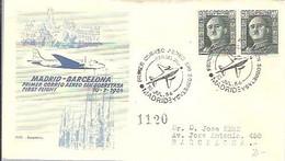 MATASELLOS 1954  VUELO MADRID-BARCELONA - 1951-60 Lettres