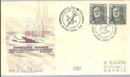 MATASELLOS 1954  VUELO -BARCELONA -MADRID - 1951-60 Lettres