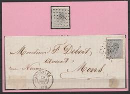 """N°17 Lpts """"336"""" Oblit + Sur Lettre Càd SOIGNIES /10 Sept 1868 Pour MONS - 1865-1866 Profil Gauche"""