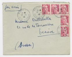 GANDON 3FR X5 N°716  LETTRE COVER AVION PARIS 92 19.6.1946 POUR SUISSE  AU TARIF - 1945-54 Marianne (Gandon)