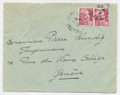 GANDON 3FR X2 N°716 DEVANT LETTRE FRONT COVER BONNEVILLE HAUTE SAVOIE 1946 POUR GENEVE TARIF FRONTALIER - 1945-54 Marianne (Gandon)